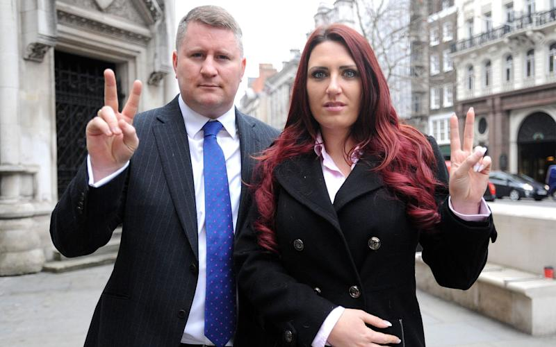 Jayda Fransen, right, and Britain First leader Paul Golding, were banned - PA