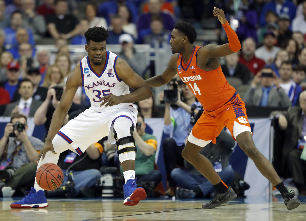Kansas' Udoka Azubuike (35) scored 14 points and grabbed 11 rebounds in a Sweet 16 win over Clemson. (AP Photo/Charlie Neibergall)