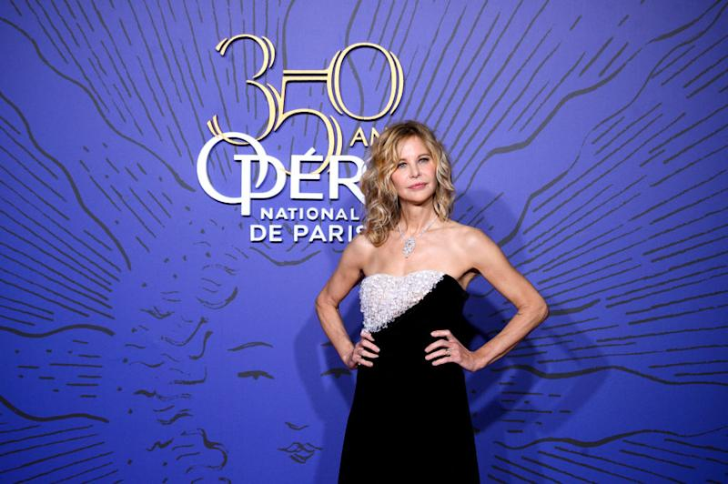 PARIS, FRANCE - MAY 08: American Actress Meg Ryan attends the 350th Anniversary Gala photocall at Opera Garnier on May 08, 2019 in Paris, France. (Photo by Kristy Sparow/WireImage)