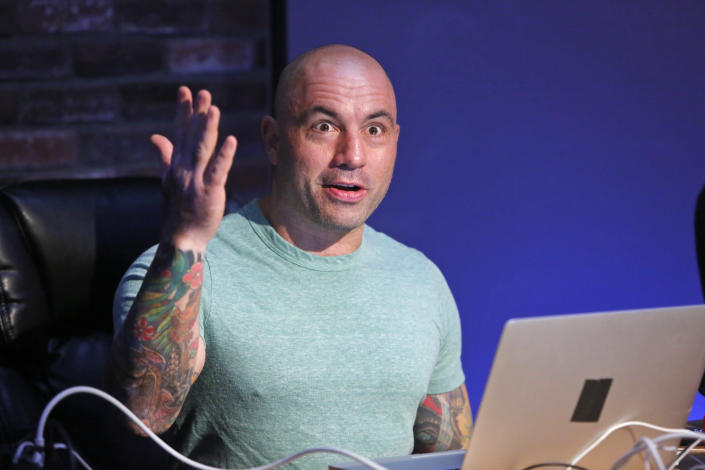 "JOE ROGAN QUESTIONS EVERYTHING -- ""Podcast"" -- Pictured: Host Joe Rogan -- (Photo by: Vivian Zink/Syfy/NBCU Photo Bank/NBCUniversal via Getty Images)"