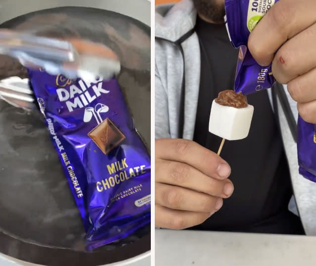In another hack, Jonathan creates a piping bag out of Cadbury Dairy Milk chocolate. Photo: Instagram/Cake Mail
