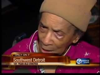 This video television frame grab provided by WXYZ.com shows Texana Hollis of Detroit.  Hollis, A 101-year-old woman,  was evicted from the southwest Detroit home where she lived for nearly six decades after her 65-year-old son failed to pay the mortgage.  Texana Hollis was evicted Monday, Sept. 12, 2011 and her belongings were placed outside the home. Her son, Warren Hollis, said he didn't pay the bill for several years and disregarded eviction notices.  (AP Photo/WXYZ.com)  MANDATORY CREDIT