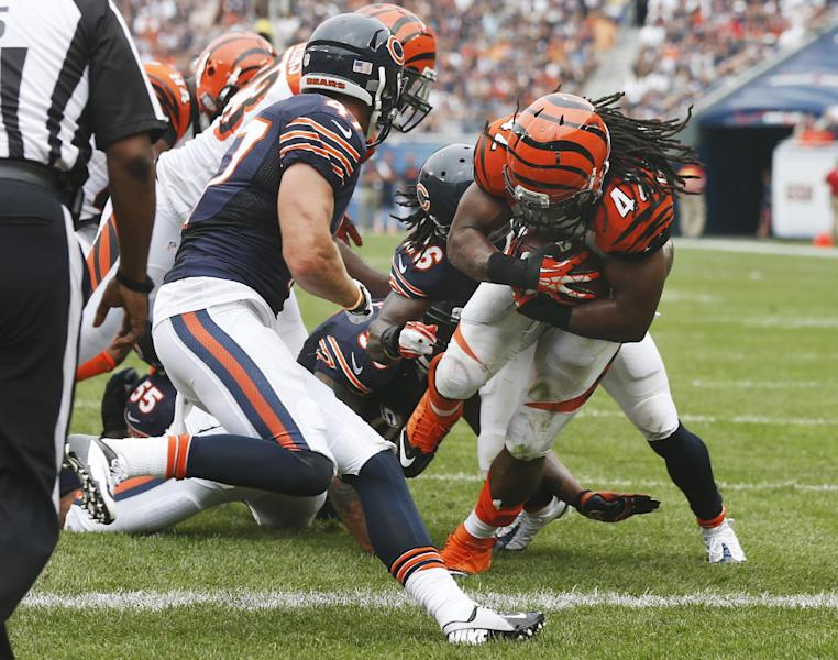 Cincinnati Bengals running back BenJarvus Green-Ellis (42) runs into the end zone for a touchdown during the second half of an NFL football game against the Chicago Bears, Sunday, Sept. 8, 2013, in Chicago. (AP Photo/Charles Rex Arbogast)