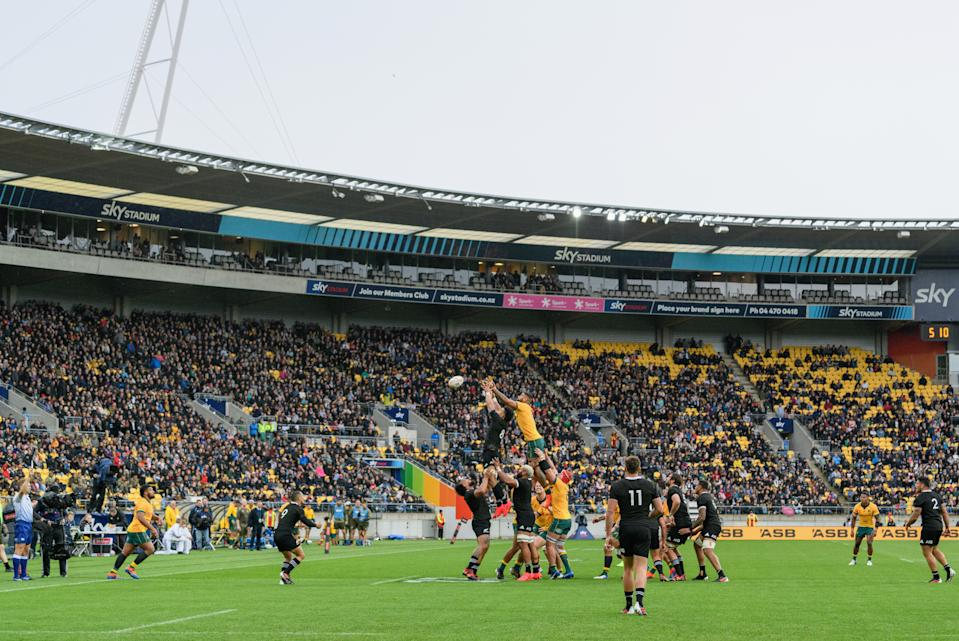 General view as Ardie Savea of the All Blacks and Lukhan Salakaia-Loto of the Wallabies (L-R) compete for a lineout during the Bledisloe Cup match.