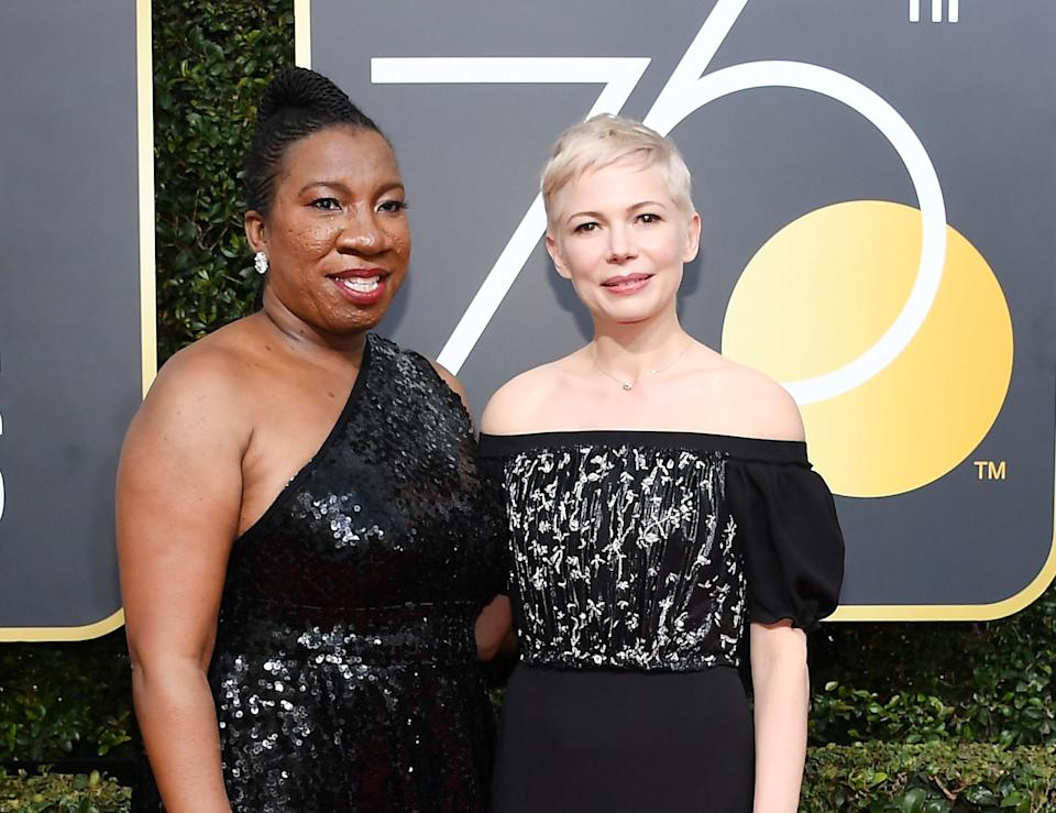 """Tarana Burke, who attended the show with Michelle Williams,<a href=""""https://www.huffingtonpost.com/entry/the-me-too-campaign-was-created-by-a-black-woman-10-years-ago_us_59e61a7fe4b02a215b336fee"""">founded the """"Me Too"""" movement</a> long before its hashtag existed. She founded the youth organization Just Be Inc. in 2006 with a mission to educate young women of color on health and well-being. A year later,shecreated the """"Me Too"""" campaign as a grassroots movement to reach sexual assault survivors in underprivileged communities.<br /><br />Currently, Burke is a <a href=""""http://www.ggenyc.org/about/staff/"""">senior director</a> at Girls for Gender Equity in New York and has continued her work as a youth advocate in the more recent #MeToo movement. This past fall, <a href=""""https://www.facebook.com/womensmarchonwash/posts/1711547782191827"""">Burke spoke at the Women's Convention</a> in Detroit. She was also one of the<a href=""""https://www.huffingtonpost.com/entry/time-person-of-the-year-2017_us_5a1e9b93e4b0cb0e917ca818"""">""""Silence Breakers""""</a>that Time magazine named as person of the year for 2017.<br /><br />""""Me too is so powerful because somebody had said it to me and it changed the trajectory of my healing process once I heard that,"""" Burke said in <a href=""""https://www.huffingtonpost.com/entry/the-me-too-campaign-was-created-by-a-black-woman-10-years-ago_us_59e61a7fe4b02a215b336fee"""">an October interview</a> with Democracy Now. """"Me too was about reaching the places that other people wouldn't go, bringing messages and words and encouragement to survivors of sexual violence where other people wouldn't be talking about it."""""""