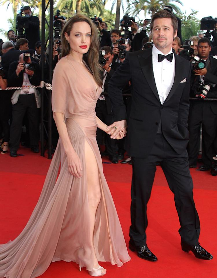 CANNES, FRANCE - MAY 20:  Actors Angelina Jolie and  Brad Pitt attend the 'Inglourious Basterds' Premiere at the Grand Theatre Lumiere during the 62nd Annual Cannes Film Festival on May 20, 2009 in Cannes, France.  (Photo by Jeff Vespa/WireImage) *** Local Caption *** Angelina Jolie;Brad Pitt