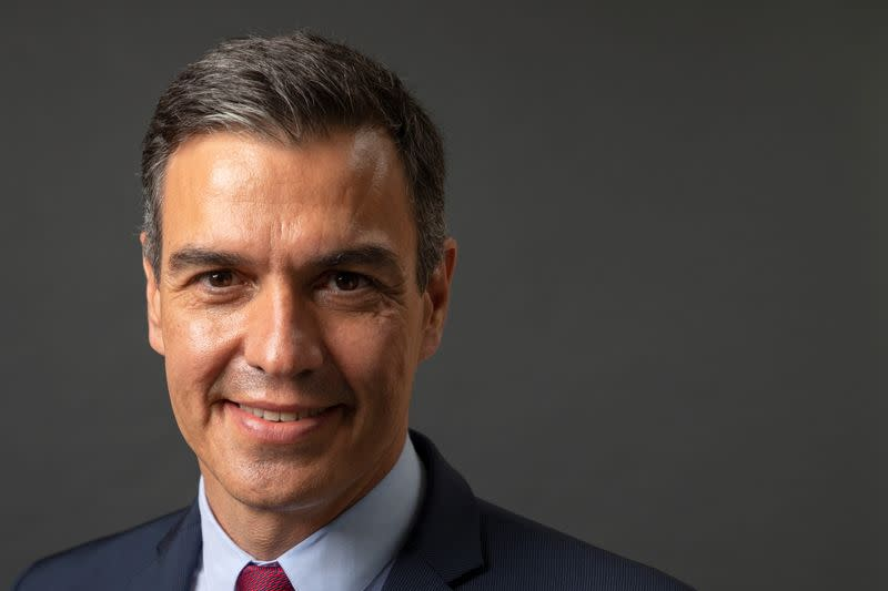 Prime Minister of Spain Pedro Sanchez poses for a photo before participating in a Reuters NEXT Newsmaker event at Instituto Cervantes in Manhattan, New York City