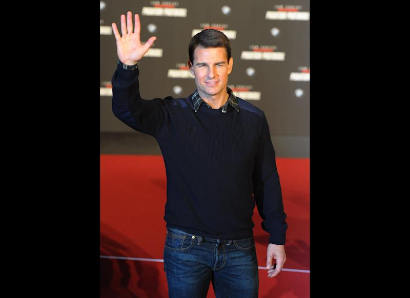 "Tom Cruise on the red carpet for the European premiere of ""Mission: Impossible - Ghost Protocol"" in 2011."