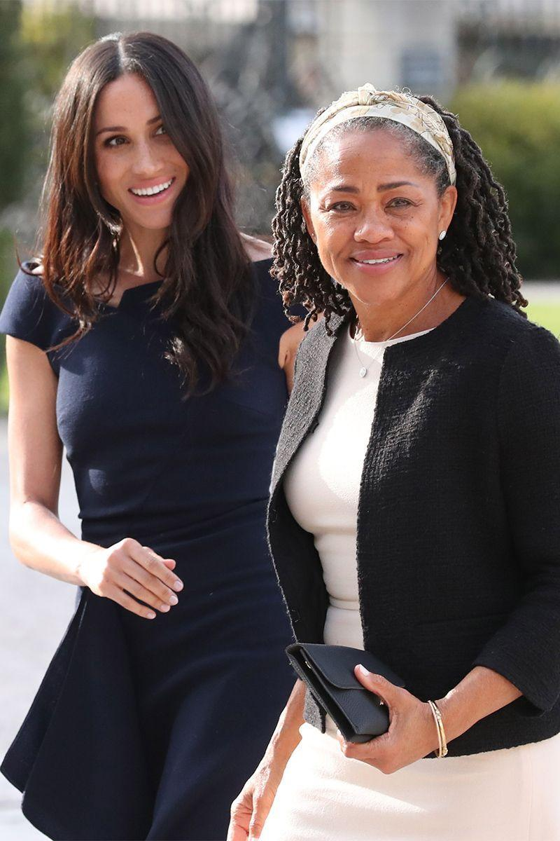 <p>Meghan and her mother, Doria Ragland, arrive at Cliveden House Hotel on the National Trust's Cliveden Estate to spend the night before her wedding to Harry.</p>