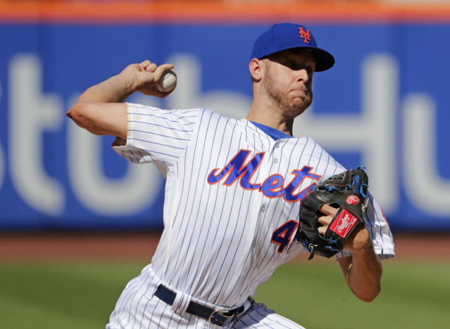 New York Mets' Zack Wheeler delivers a pitch during the first inning in the first game of a baseball doubleheader against the Philadelphia Phillies, Monday, July 9, 2018, in New York. (AP Photo/Frank Franklin II)
