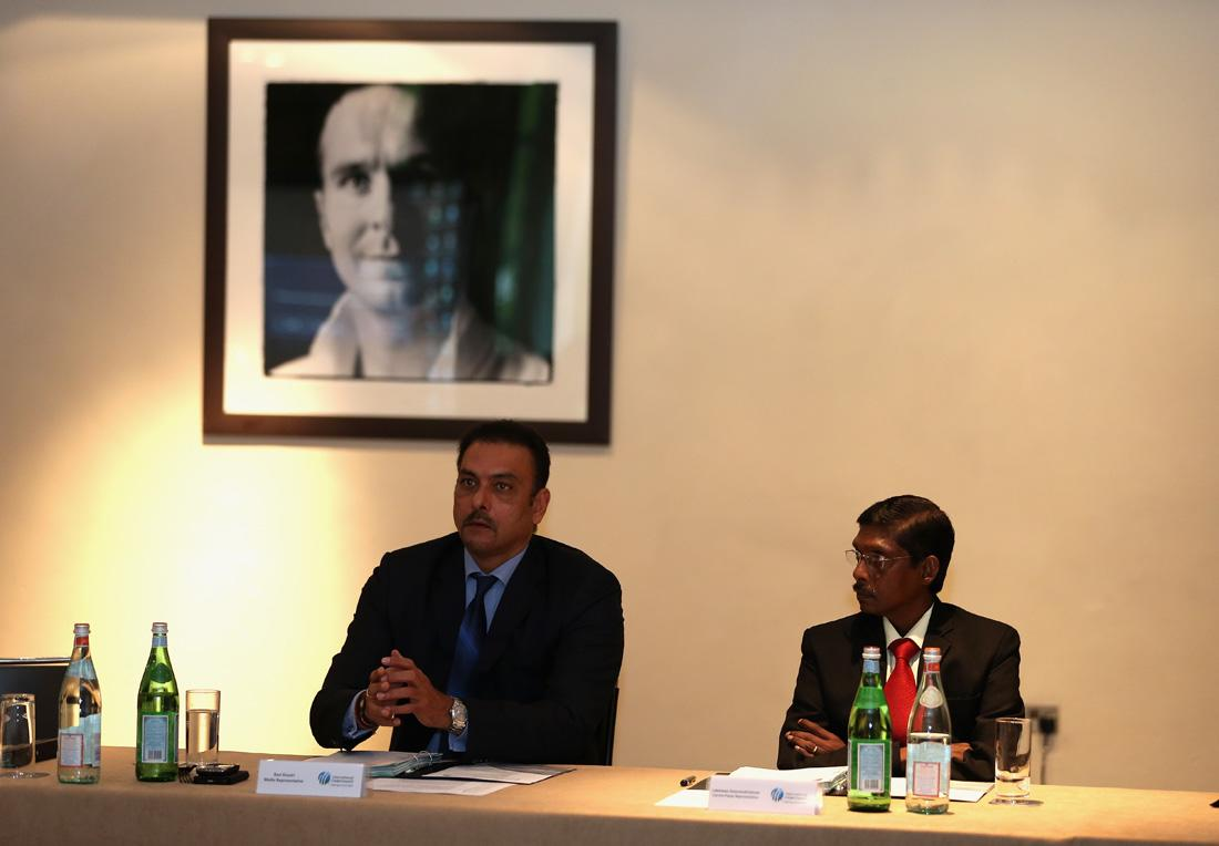 LONDON, ENGLAND - MAY 28:  Ravi Shastri (left) and Laxman Sivaramakrishnan chat during the ICC Cricket Committee at Lord's on May 28, 2013 in London, England.  (Photo by Andrew Redington/Getty Images)