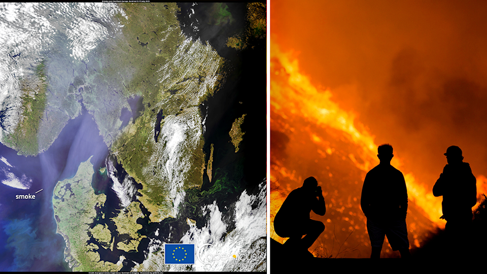 Smoke from North American fires has travelled over parts of Europe. Source: European Union, Copernicus Sentinel-3 imagery / Reuters