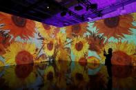 """The """"Immersive Van Gogh"""" featuring large-scale projections of works from Dutch artist Vincent van Gogh, is seen during a media preview in the Manhattan borough of New York City"""