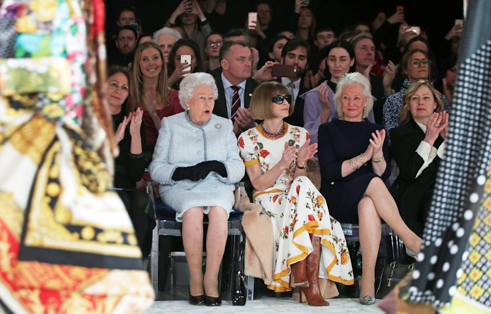 The Queen sat front row at the Richard Quinn show on February 20, 2018 [Photo: Getty]