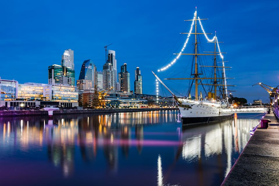 View of Puerto Madero from Puente de la Mujer (Women's Bridge) on Frigate ARA Presidente Sarmiento (1898 - National Historic Monument of Argentina), moored as museum ship.