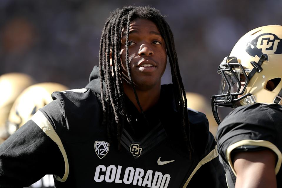 Laviska Shenault Jr. of the Colorado Buffaloes watches from the sidelines against the Arizona Wildcats on Saturday. (Getty)