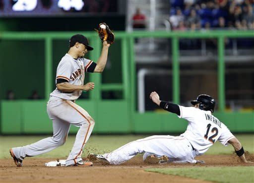 Miami Marlins' Omar Infante, right, steals second as San Francisco Giants second baseman Emmanuel Burriss attempts the tag during the third inning of a baseball game on Thursday, May 24, 2012 in Miami. (AP Photo/Wilfredo Lee)