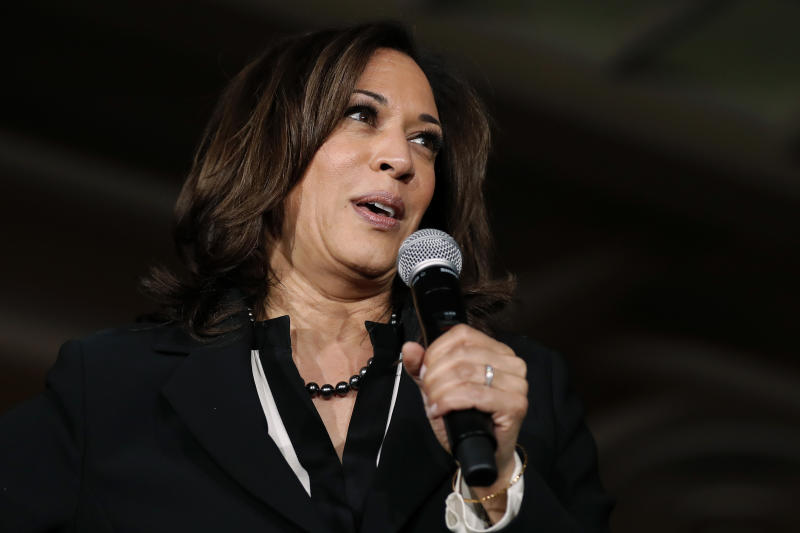 2020 Democratic presidential candidate Sen. Kamala Harris speaks during a town hall meeting at the University of Iowa, Wednesday, April 10, 2019, in Iowa City, Iowa. (AP Photo/Charlie Neibergall)