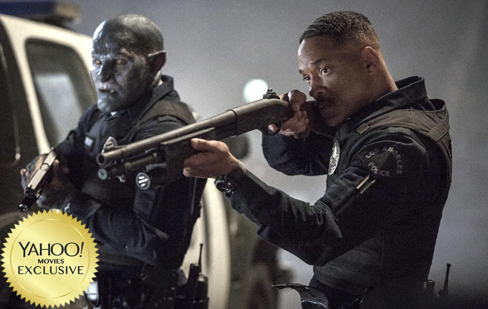 """<p><a rel=""""nofollow"""" href=""""https://www.yahoo.com/movies/tagged/david-ayer"""" data-ylk=""""slk:David Ayer"""" class=""""link rapid-noclick-resp"""">David Ayer</a>'s thriller stars <a rel=""""nofollow"""" href=""""https://www.yahoo.com/movies/tagged/will-smith"""" data-ylk=""""slk:Will Smith"""" class=""""link rapid-noclick-resp"""">Will Smith</a> as a cop who teams up with an Orc (<a rel=""""nofollow"""" href=""""https://www.yahoo.com/movies/tagged/joel-edgerton"""" data-ylk=""""slk:Joel Edgerton"""" class=""""link rapid-noclick-resp"""">Joel Edgerton</a>) in an alternative-reality version of L.A. where fantastical creatures dwell alongside humans. Think <em>Beverly Hills Cop</em> meets <a rel=""""nofollow"""" href=""""https://www.yahoo.com/movies/film/the-lord-of-the-rings"""" data-ylk=""""slk:The Lord of the Rings"""" class=""""link rapid-noclick-resp""""><em>The Lord of the Rings</em></a>. 