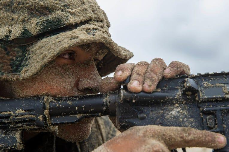 Marine Corps Lance Cpl. Juan Vasquezninco provides security during small boat raid training at Marine Corps Base Camp Pendleton, Calif., Sept. 10, 2019.