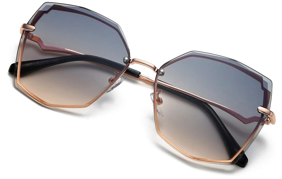 """<h2>S.NOTIO Oversized Fashion Designer Style Gradient Lens Polygon Glasses</h2><br>Oversized shades are making a major comeback. Try this polygon-shaped pair with the unique gradient coloring out front. <br><strong><br>The Hype:</strong> 4.4 out of 5 stars and <br><br><strong>What They Are Saying: </strong>""""These are worth it. Very sturdy and I can tell these are going to last. Came nicely packaged with a sleeve to prevent scratching and cloth to clean. Can't wait to wear these out. Love that these are so different from all my other sunnies!"""" - Amazon Reviewer<br><br><em>Shop <strong><a href=""""https://amzn.to/3gorCNF"""" rel=""""nofollow noopener"""" target=""""_blank"""" data-ylk=""""slk:S.Notio"""" class=""""link rapid-noclick-resp"""">S.Notio</a></strong></em><br><br><strong>S.notio</strong> S.NOTIO Sunglasses for Women trendy Polygon Oversized Fashion Designer Style Gradient UV400 octagon Lens Metal Frame, $, available at <a href=""""https://amzn.to/3gf5bdJ"""" rel=""""nofollow noopener"""" target=""""_blank"""" data-ylk=""""slk:Amazon"""" class=""""link rapid-noclick-resp"""">Amazon</a>"""