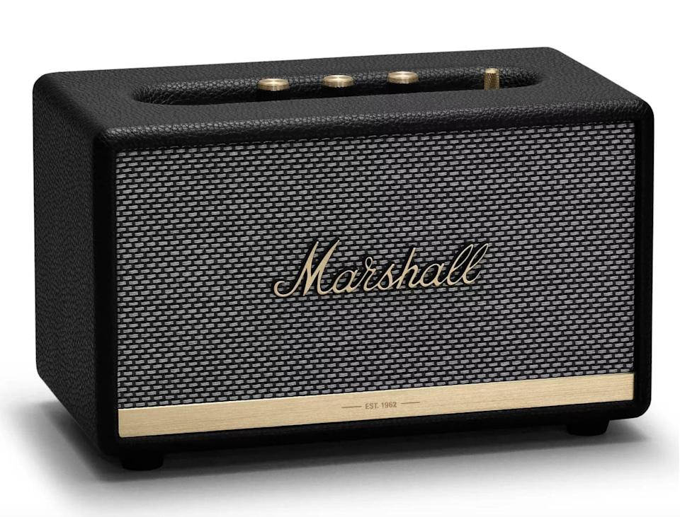 <p>If he loves a retro yet modern look, the <span>Marshall Acton II Bluetooth Speaker</span> ($230) is a must have. The speaker provides unparalleled sound and looks stunning on display.</p>