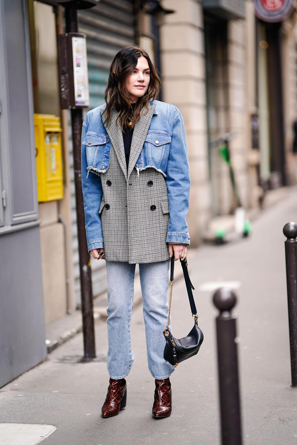 Maybe the most creative styling we've seen: a cropped denim jacket over a blazer, paired with basic blue jeans.