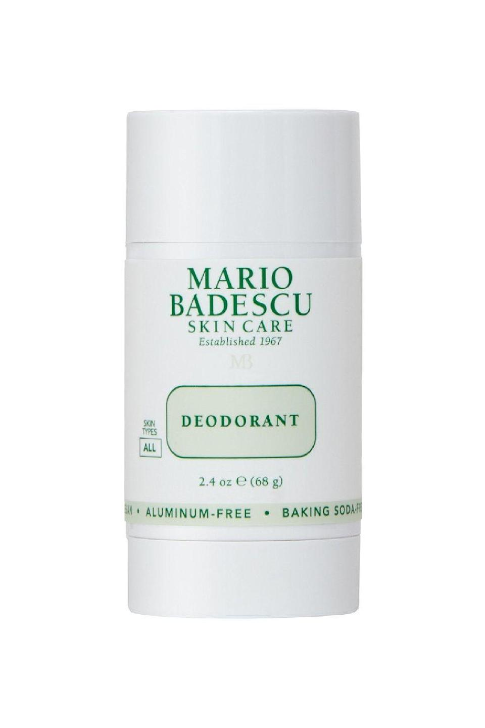 "<p><strong>Mario Badescu</strong></p><p>ulta.com</p><p><strong>$14.00</strong></p><p><a href=""https://go.redirectingat.com?id=74968X1596630&url=https%3A%2F%2Fwww.ulta.com%2Fdeodorant%3FproductId%3Dpimprod2021152&sref=https%3A%2F%2Fwww.marieclaire.com%2Fbeauty%2Fg36081134%2Fbest-deodorant-for-women%2F"" rel=""nofollow noopener"" target=""_blank"" data-ylk=""slk:SHOP IT"" class=""link rapid-noclick-resp"">SHOP IT</a></p><p>This baking soda formulation works wonders with an aluminum-free formulation that smells kind of like an herbaceous gimlet thanks to cucumber, sage, and ginger extract. </p>"