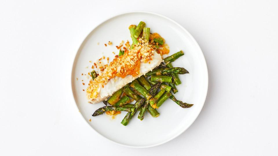 """Level up your weeknight fish routine with a crispy, flavor-packed crust. <a href=""""https://www.bonappetit.com/recipe/crispy-miso-butter-fish?mbid=synd_yahoo_rss"""" rel=""""nofollow noopener"""" target=""""_blank"""" data-ylk=""""slk:See recipe."""" class=""""link rapid-noclick-resp"""">See recipe.</a>"""