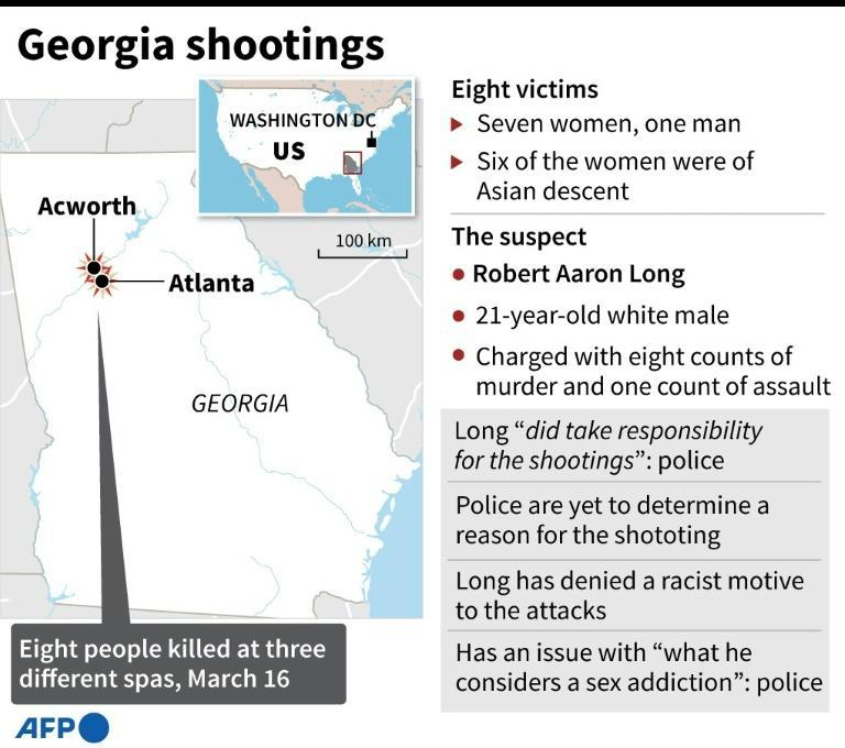Map of the US state of Georgia locating Atlanta and Acworth, where at least 8 people were killed in shootings at three different spas on Tuesday