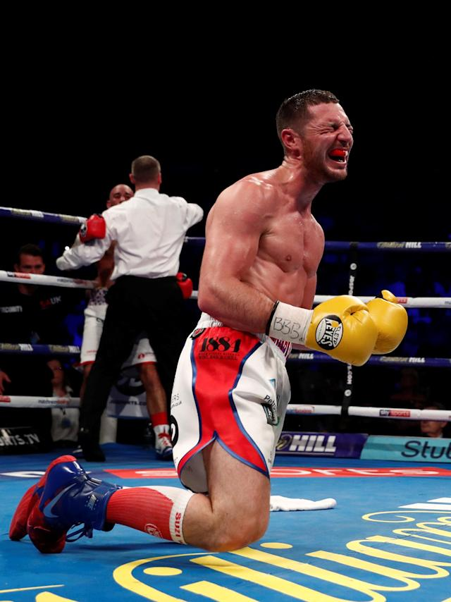 Boxing - Sean Dodd v Tommy Coyle - Commonwealth Lightweight Title - Echo Arena, Liverpool, Britain - April 21, 2018 Tommy Coyle celebrates after winning the fight as the referee stops Sean Dodd Action Images via Reuters/Andrew Couldridge