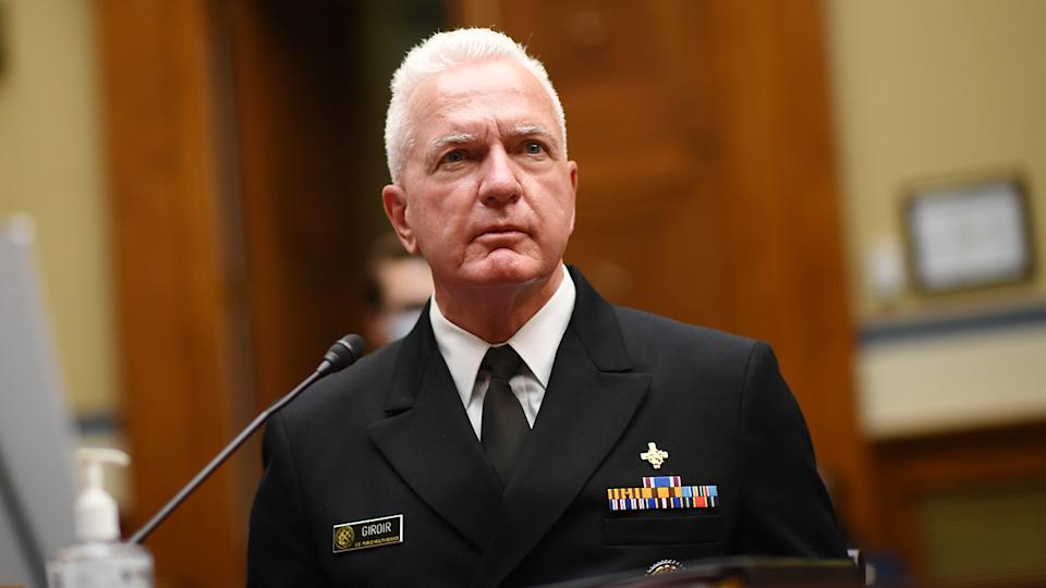 Admiral Brett Giroir, director of the US coronavirus diagnostic testing, looks on as he testifies during a House Subcommittee on the Coronavirus Crisis hearing in July. (Kevin Dietsch/AFP via Getty Images)