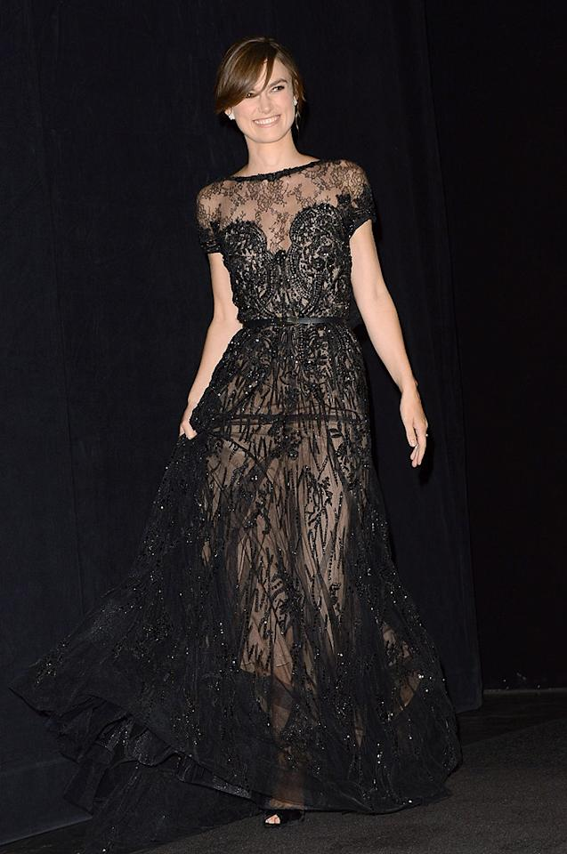 "Keira Knightley wowed the crowd at the TIFF premiere of <a target=""_blank"" href=""http://movies.yahoo.com/movie/anna-karenina-2012/"">""Anna Karenina""</a> in a breathtaking Elie Saab Couture gown, which featured intricate lacework and a slim belt. The actress -- who'll likely be nominated for an Oscar for her performance in the Tolstoy adaptation -- topped things off with Gucci heels and diamonds courtesy of Chanel. (9/7/2012)<br><br><a target=""_blank"" href=""http://movies.yahoo.com/toronto/"">Toronto International Film Fest on Y! Movies</a><br><br>"