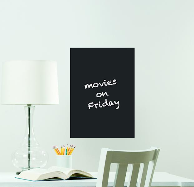This publicity photo provided by courtesy Brewster Home Fashions shows the WallPops Dry-Erase Chalk Message Board that can be used for a checklist of chores or to track appointments. This decal can be repositioned. (AP Photo/ Brewster Home Fashions)