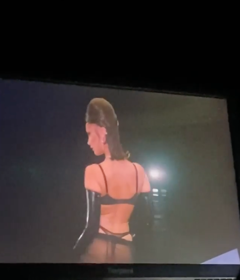 Bella shared this behind-the-scenes look at her bottom-baring outfit. Photo: Instagram/bellahadid.
