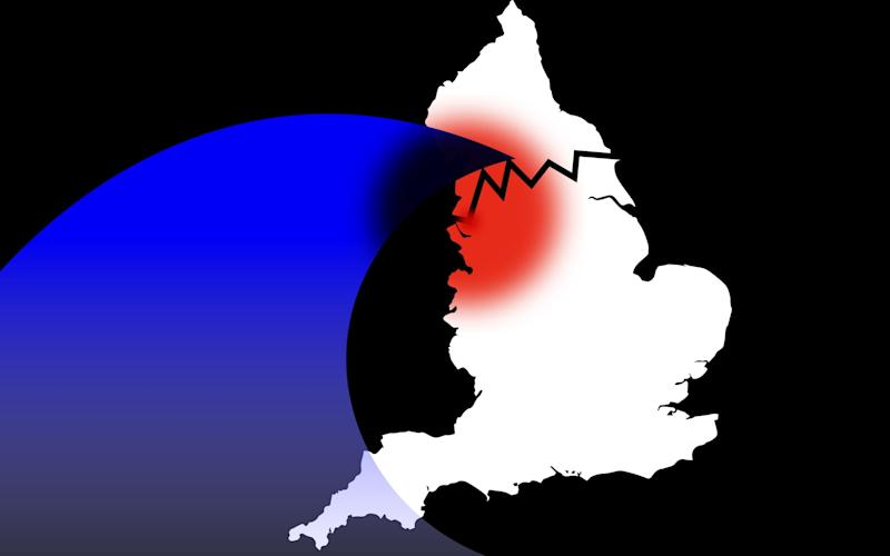 Design showing second wave breaking over England