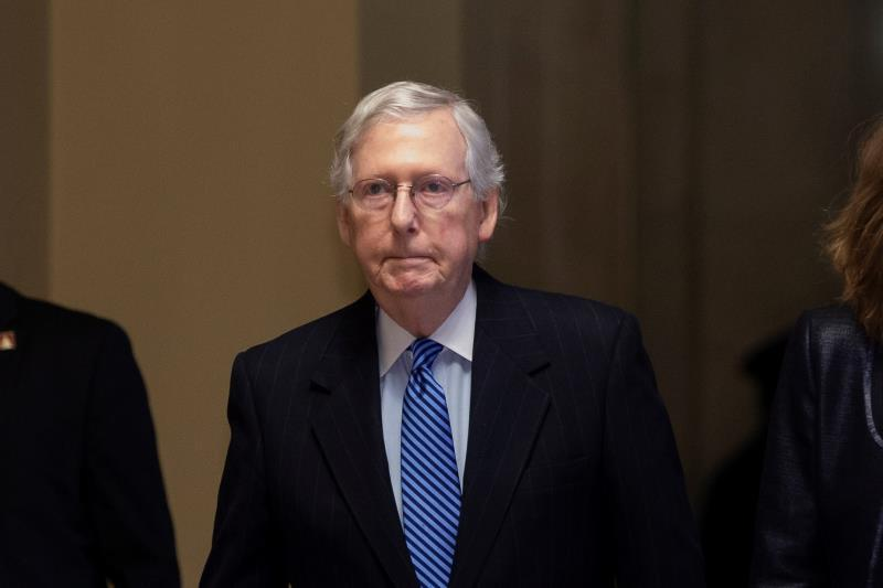 US Senate Majority Leader Mitch McConnell walks to the Senate chamber for the vote to acquit or convict US President Donald J. Trump, in the US Capitol in Washington, DC, USA, 05 February 2020. EFE/EPA/MICHAEL REYNOLDS