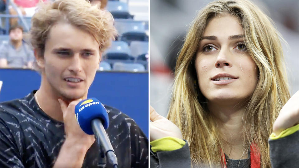 Alexander Zverev, pictured here in his post-match interview at the US Open.