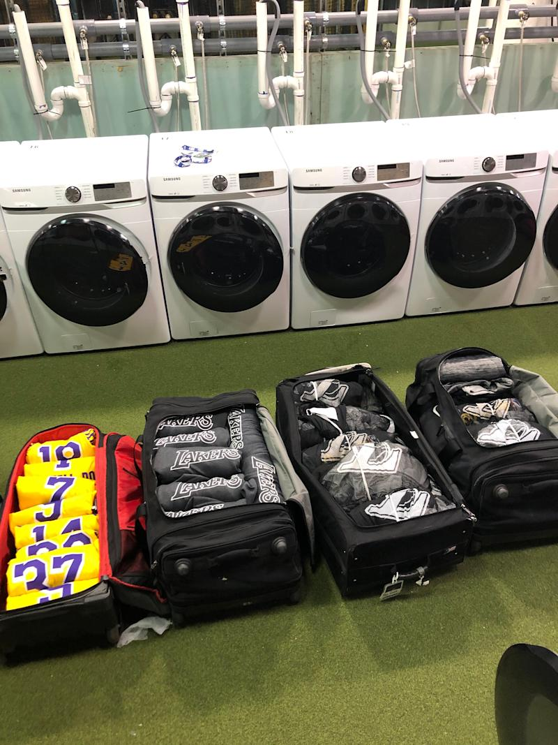 The rows of washing machines Lakers team manager Andrew Henk had to use to get the team's uniforms and practice gear clean inside the NBA bubble.