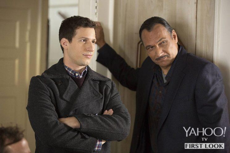 Andy Samberg and guest star Jimmy Smits in 'Brooklyn Nine-Nine' (Credit: John P Fleenor/FOX)