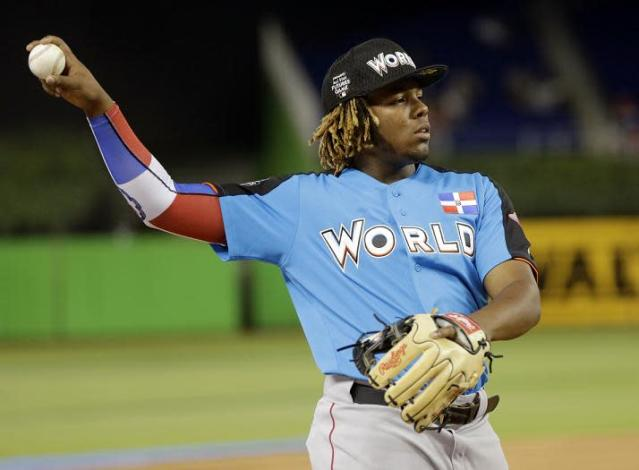 Vladimir Guerrero's is aiming to follow in his father's Hall of Fame footsteps. (AP)