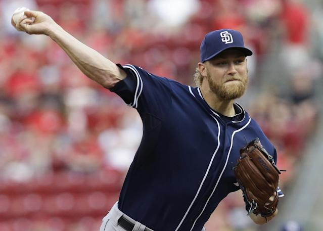 San Diego Padres starting pitcher Andrew Cashner throws against the Cincinnati Reds in the first inning of a baseball game, Tuesday, May 13, 2014, in Cincinnati. (AP Photo)