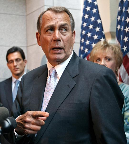 House Speaker John Boehner of Ohio, accompanied by House Majority Leader Eric Cantor of Va., left, and Rep. Kay Granger, R-Texas, meets with reporters following a GOP strategy session on Capitol Hill in Washington, Thursday, May 31, 2012. (AP Photo/J. Scott Applewhite)
