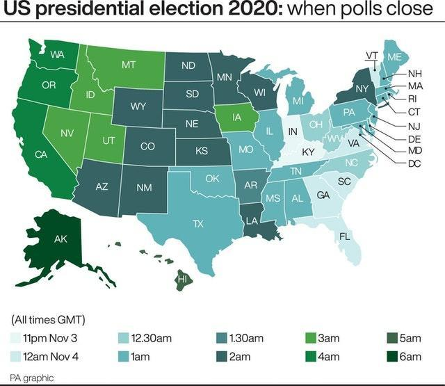US presidential election 2020 when polls close