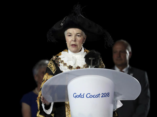 Mayor of the the next host city of Birmingham, Anne Underwood, addresses the closing ceremony at Carrara Stadium during the 2018 Commonwealth Games on the Gold Coast, Australia, Sunday, April 15, 2018. (AP Photo/Dita Alangkara)