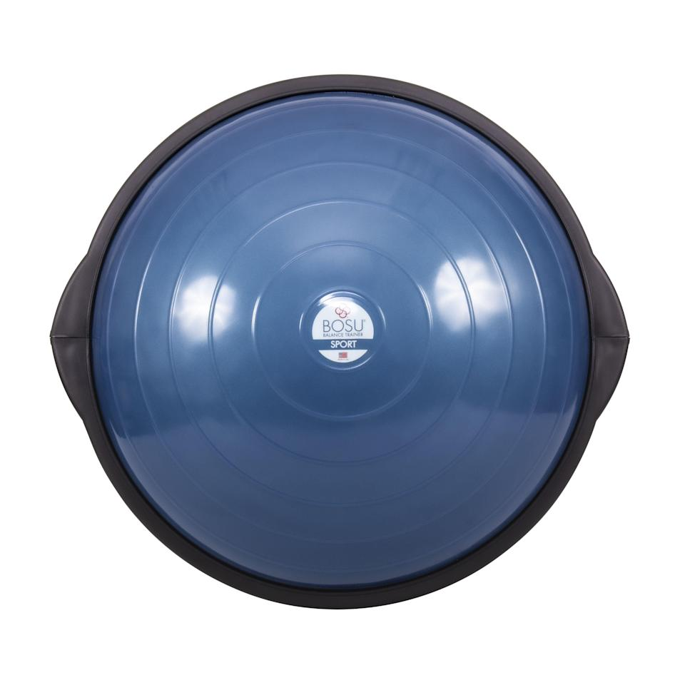 """<p><strong>Bosu</strong></p><p>amazon.com</p><p><strong>$89.15</strong></p><p><a href=""""https://www.amazon.com/dp/B01C34QSKG?tag=syn-yahoo-20&ascsubtag=%5Bartid%7C2141.g.35229014%5Bsrc%7Cyahoo-us"""" rel=""""nofollow noopener"""" target=""""_blank"""" data-ylk=""""slk:Shop Now"""" class=""""link rapid-noclick-resp"""">Shop Now</a></p><p>It's not a ball, but this compact, dome-shaped version has a sturdy flat surface on one side that provides stability as you tackle crunches and side planks. Trainer Kymberly Nolden loves how versatile it is—you can flip it over to challenge yourself on push-ups and leg lifts.</p>"""