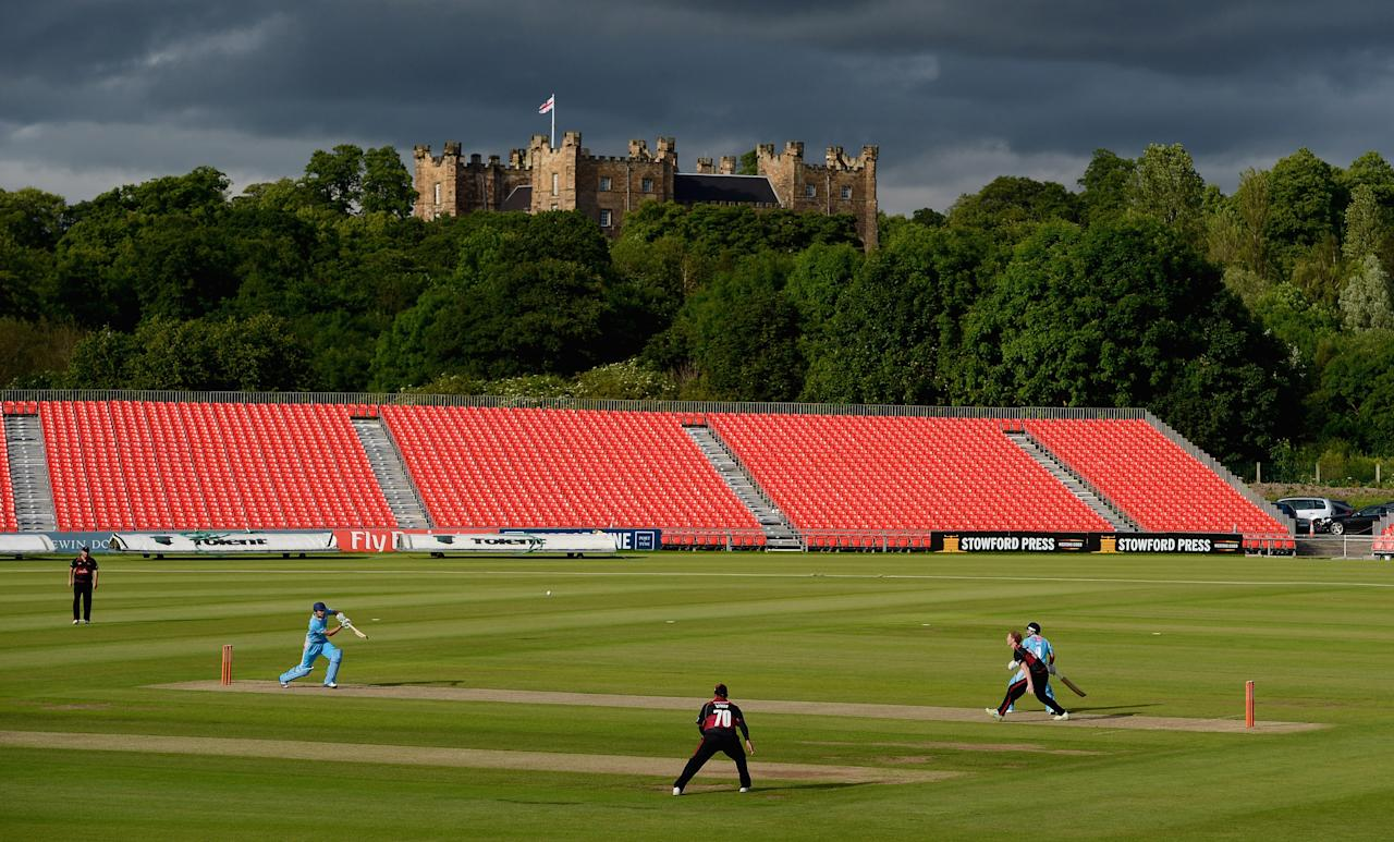 CHESTER-LE-STREET, ENGLAND - JUNE 27:  Ben Stokes of Durham bowls to Jonathan Clare of Derbyshire during the  Friends Life T20 match between Durham and Derbyshire at The Riverside on June 27, 2012 in Chester-le-Street, England.  (Photo by Gareth Copley/Getty Images)