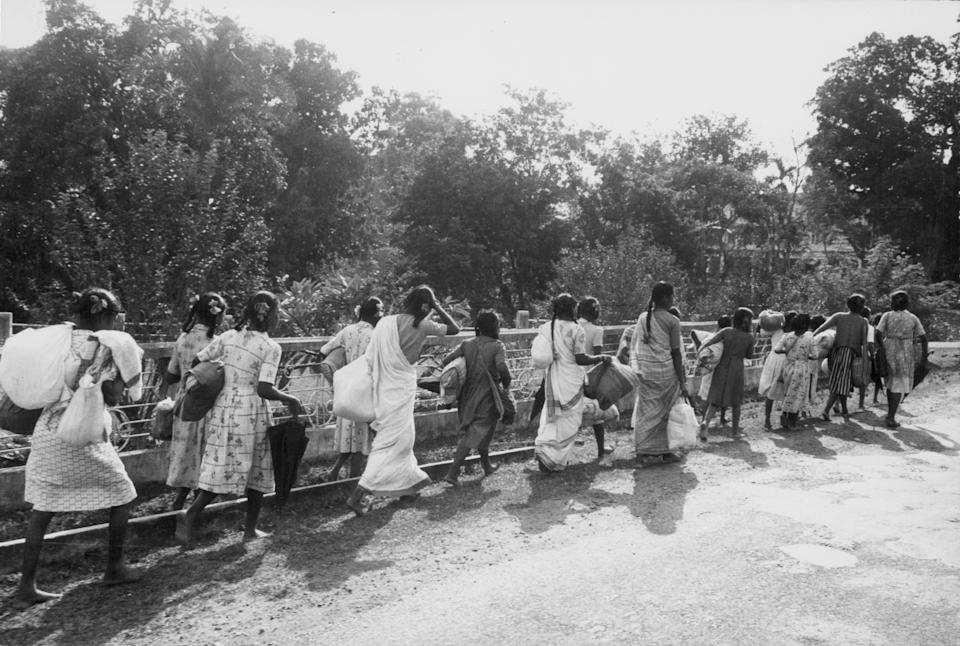 As the Chinese Army drive towards Tezpur during the Sino-Indian War, refugees fleeing with all of their belongings, India, November 23rd 1962. (Photo by Express/Archive Photos/Getty Images)