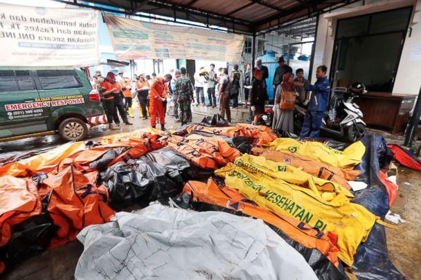 PHOTO: The bodies of tsunami victims are collected at a health facility after a tsunami hit the Sunda Strait in Pandeglang, Banten, Indonesia, Dec. 23, 2018. (Adi Weda/EPA via Shutterstock)