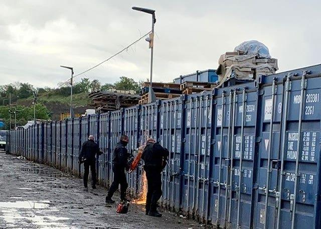 Police search container